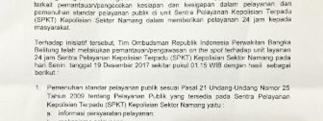 Ombudsman Babel Apresiasi Sentra Pelayanan Kepolisian Terpadu Polsek Namang