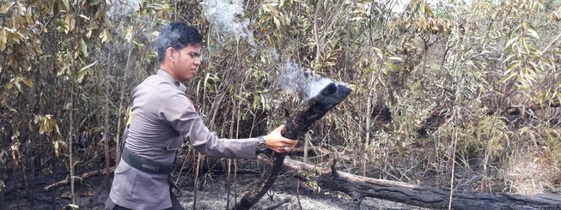 Anggota Polsek Koba Berpatroli Guna Mencegah Terjadinya Kebakaran Hutan dan Lahan