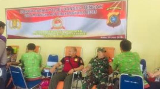 Polres Bangka Tengah Gelar Donor Darah Pada Rangkaian HUT Bhayangkara Ke 73