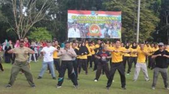 Olahraga Bersama TNI POLRI ASN dan Masyarakat Bangka tengah Meriah