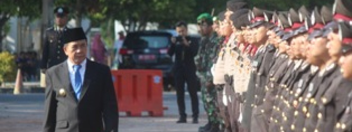 Upacara Hari Bhayangkara Ke 73 Polres Bangka tengah Gelar Pasukan di Pusat Masyarakat Koba