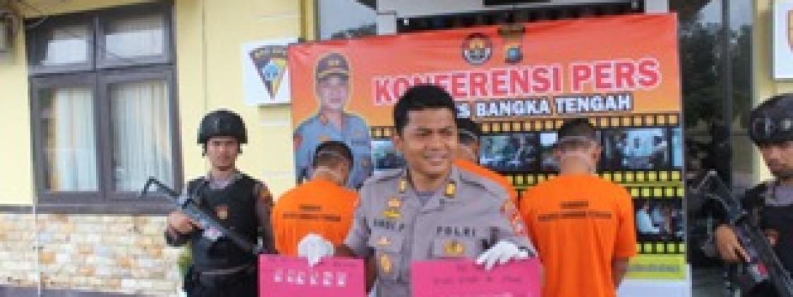 Polres Bangka tengah Tangkap Pengedar Sabu-sabu Di kalangan Pekerja Tambang