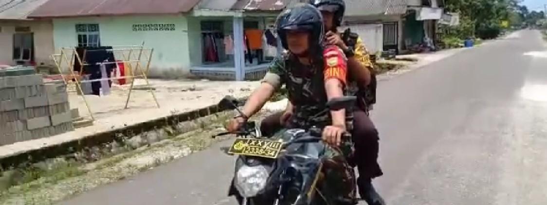 TNI – Polri Bahu Membahu Menghimbau Warga Bangka Tengah Hindari Keramaian