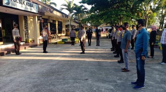 5 Araha Kapolres Bangka Tengah ambil apel pagi di Polsek Koba