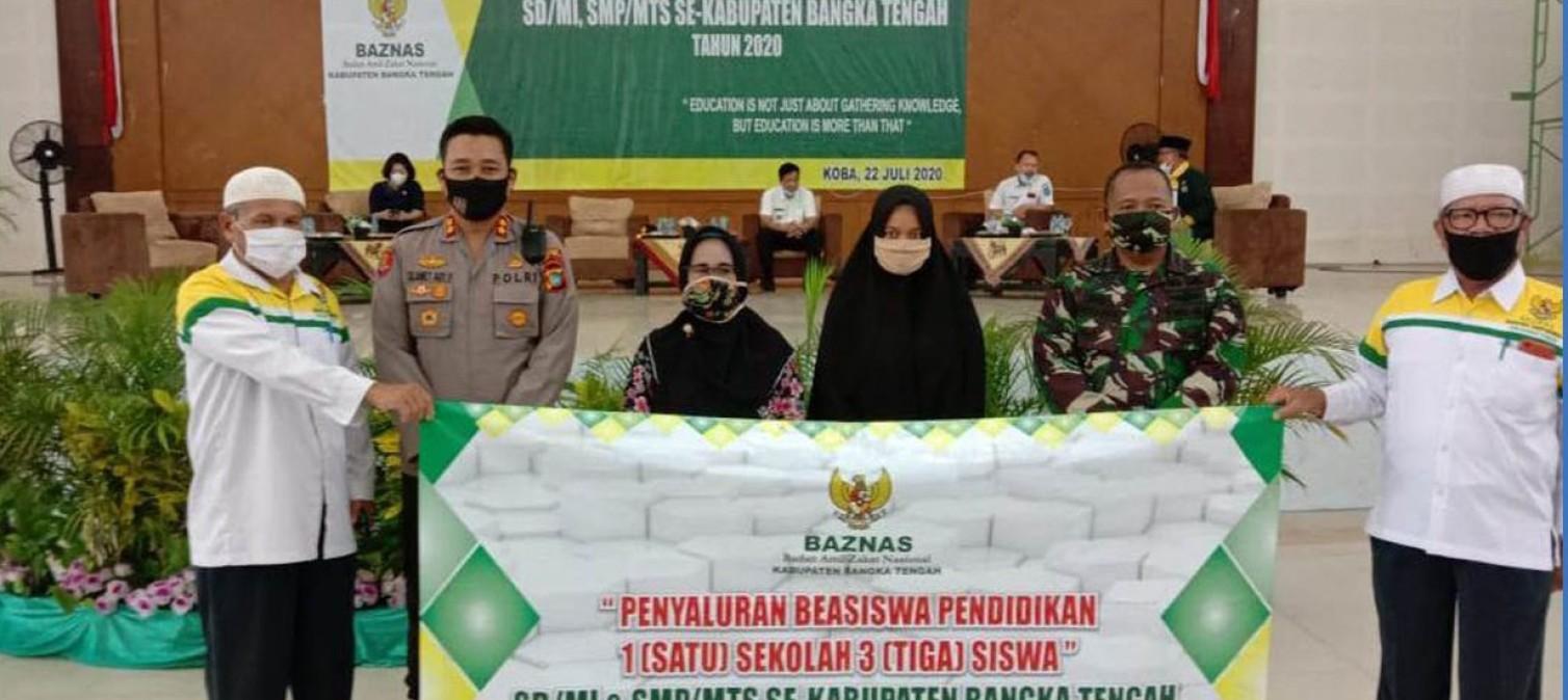 Kapolres Bangka Tengah hadiri kegiatan kegiatan Penyaluran Beasiswa 1 Sekolah 3 Siswa yang diadakan oleh BAZNAS Kab.Bateng