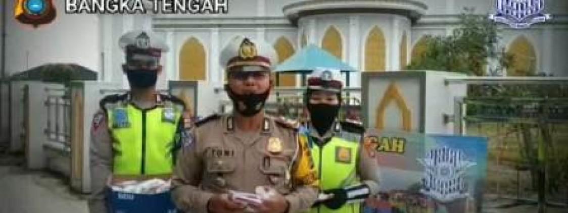 Menjelang perayaan Hari Kemardekaan RI ke 75 Sat Lanats Polres Bangka Tengah bagikan masker dan Hand Sanitizer